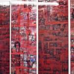Lenticular print on color plexiglass / on aluminum composite, 5 panels: 0.35 × 1.80 m (each)