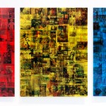 Lenticular print on red, yellow and blue plexiglas, 3 panels : 0.90 × 1.20 m each