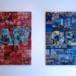 Lenticular print on aluminum composite, 1.10 × 1.10 m each