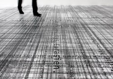 (…) This site-specific floor print installation, exhibited in the TZR Galerie Kai Brückner and titled « Eurasia », is mostly composed of very long lines of text in different font sizes...
