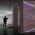 Interactive installation with 4 videoprojectors, each screen: 4 x 3 m, Video software: Claude Micheli, Electronic : Sylvain Belot
