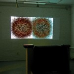 Video installation with 2 projectors, Sound track : Thanos Chrysakis, Video software : Claude Micheli