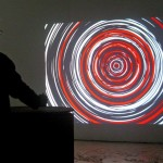Interactive video installation with 1 videoprojector, Video software: Claude Micheli, Electronic: Sylvain Belot