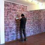 Site specific print installation with lenticular sheet