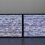 Video installation with two lenticular screens, Video software : Claude Micheli