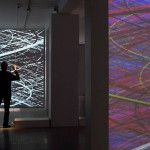 Interactive installation with 4 videoprojectors, 2 computers and custom software, each screen: 4 × 3 m (Video software: Claude Micheli, Electronic: Sylvain Belot)