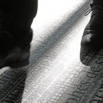 Site-specific floor-print installation, pigment print on vinyl floor, 142 × 2.00 m