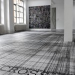 Site-specific floor-print installation, pigment print on vinyl floor, 13 × 8 m