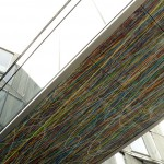 Pascal Dombis & Gil Percal (architect) / Foot-bridge under face, printed glass panels, 9.00 × 2.50 m in total