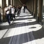 Site-specific floor print installation, pigment print on vinyl floor, 252 × 1.30 m