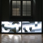 Video & Sound installation with lenticular panel on 2 LCD screens, computer and custom software, 1.90 × 0.50 m (Video software: Claude Micheli)