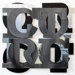 16 cut characters assembled (lenticular print, black aluminum composite, mirror aluminum composite), 1.10 × 1.10 m