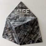 UV black print on digitally cut aluminum composite with inside mirror, 0.75 x 0.75 x 0.25 m