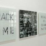 Ceramic ink on multilayered cracked glass panel, 0.60 x 0.60 m each