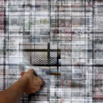 Site specific print installation with lenticular sheets, 5.60 × 2.30 m